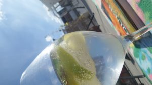 Wineglas with Lime Soda